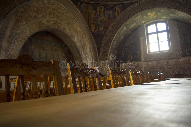 Table de salle à manger médiévale image stock