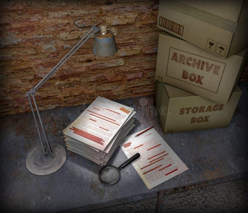 Table de sous-sol avec la boîte et le dossier extrêmement secret La lampe de Tableau, la loupe et le crayon sont les objets placé illustration de vecteur