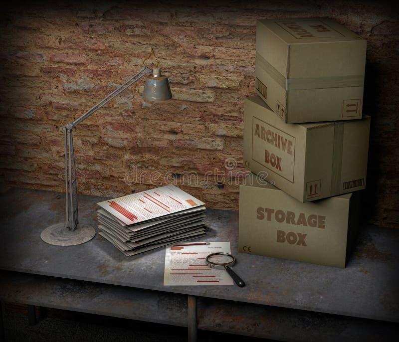 Table de sous-sol avec les boîtes et le dossier extrêmement secret Lampe de Tableau, loupe et crayon Feuilles et documents import illustration de vecteur