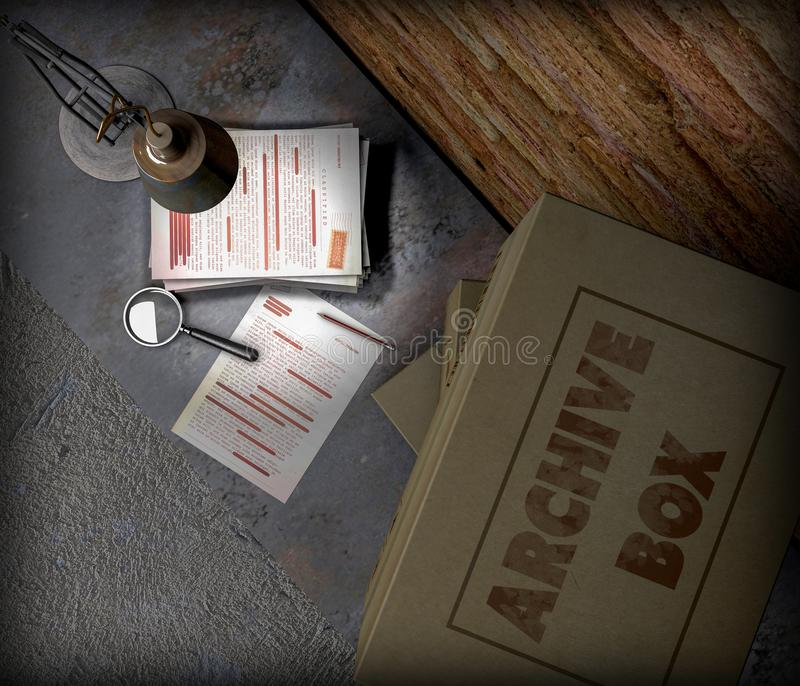 Table de sous-sol avec les boîtes et le dossier extrêmement secret Lampe de Tableau, loupe et crayon Feuilles et documents import illustration libre de droits