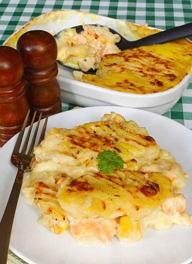 Table de tarte de Fishermans de portion images stock