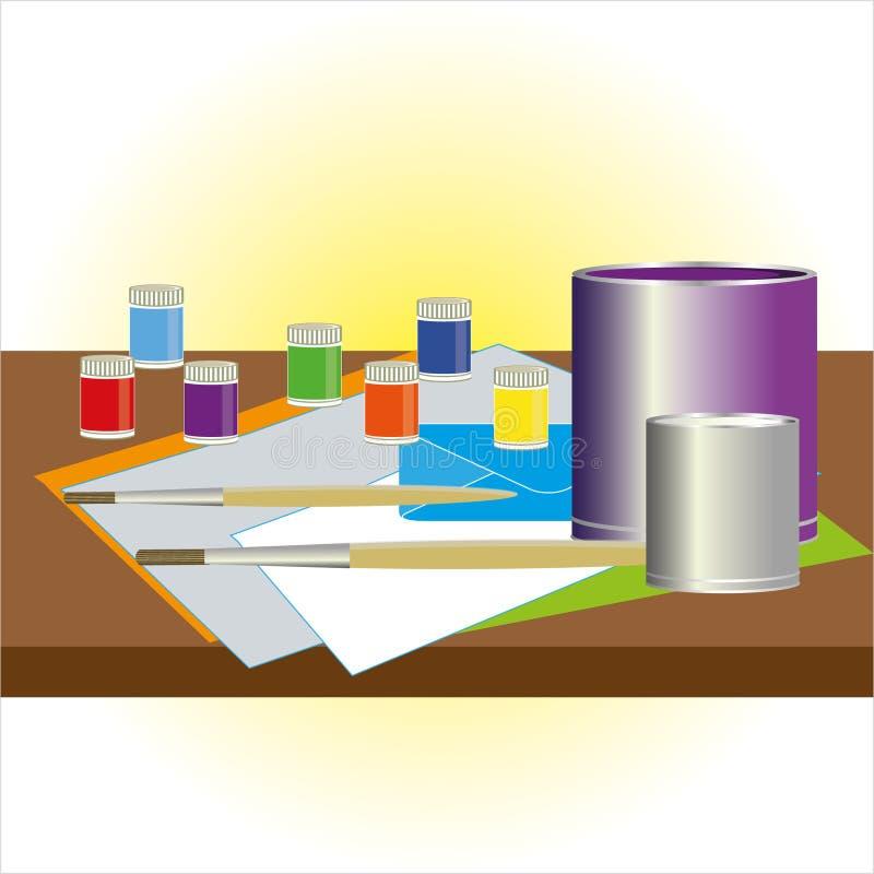 Table de travail de peintre et de décorateur avec des échantillons de couleur, pinceaux illustration libre de droits