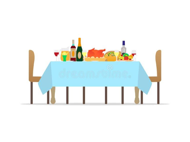 Table de vecteur pour le dîner romantique de vacances de fête illustration stock