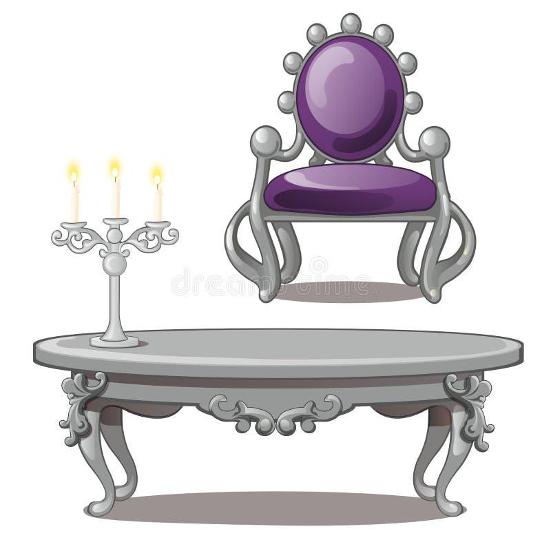 Table de vintage avec la bougie et chaise d'isolement sur un fond blanc Illustration de vecteur illustration libre de droits