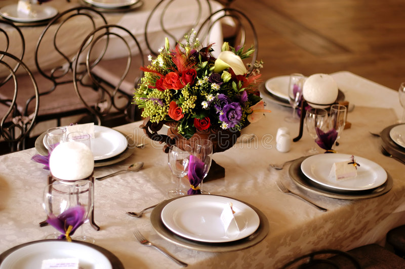 Download Table decor at a wedding 2 stock photo. Image of dinnerware - 1806444