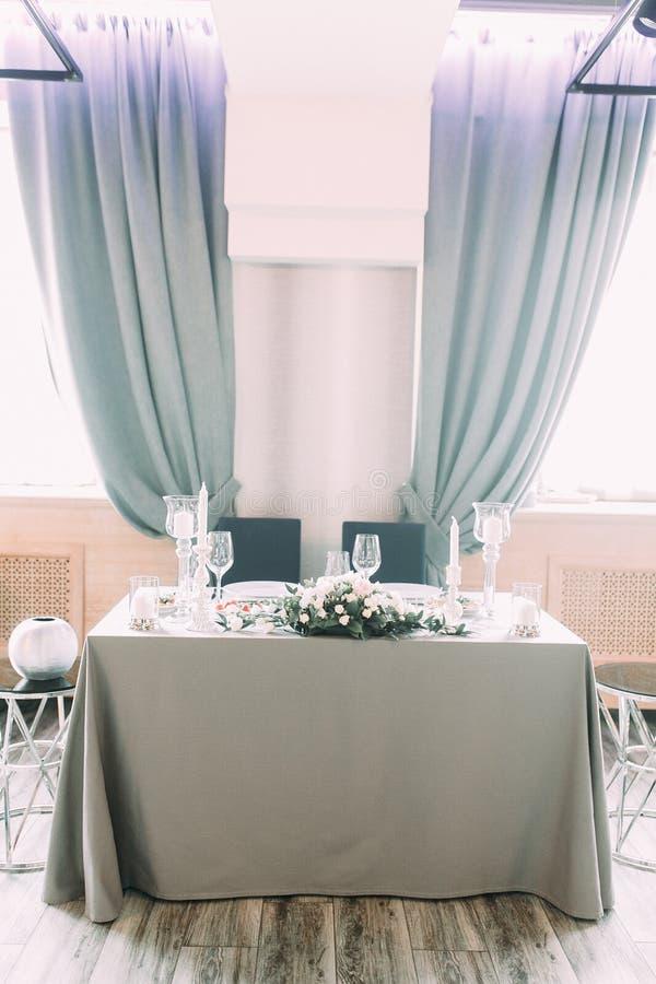 Table decor at the wedding celebration. stock image