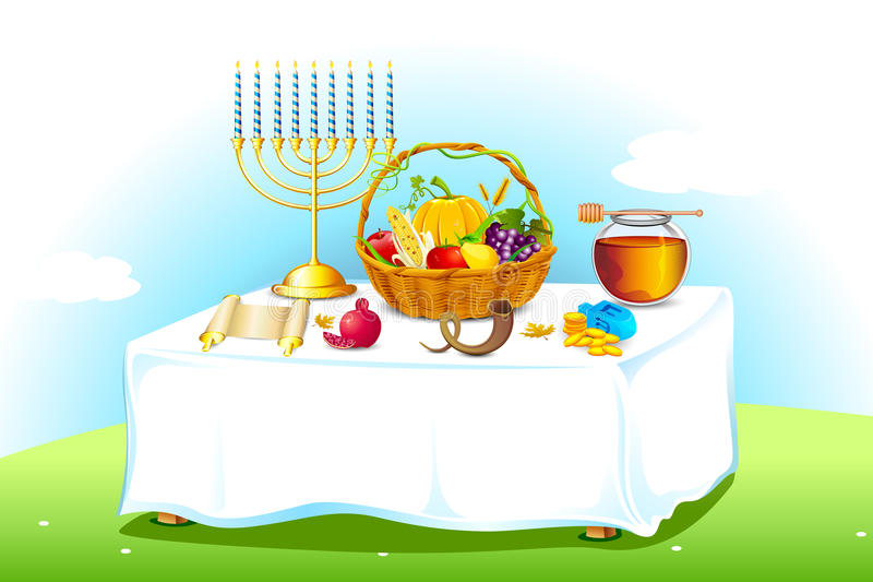 Table decorated for Sukkot stock illustration