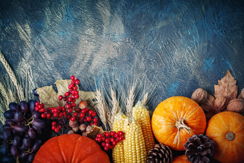 The table, decorated with vegetables and fruits. Harvest Festival,Happy Thanksgiving. royalty free stock photography