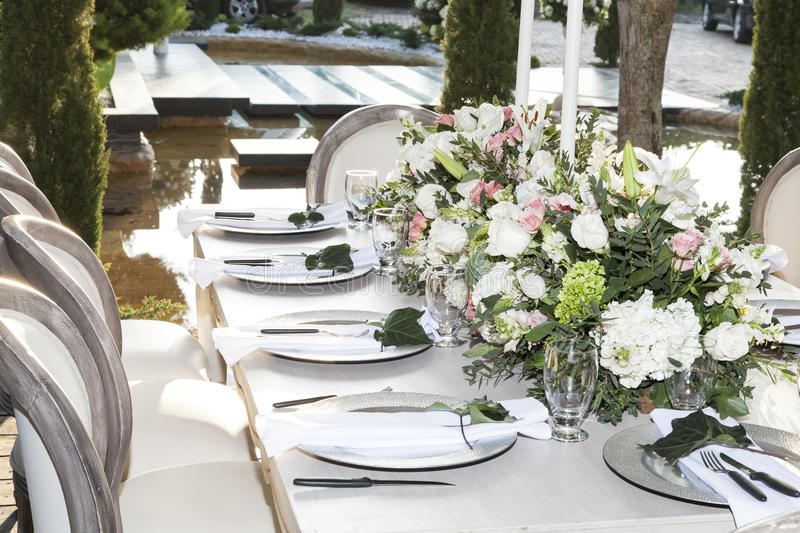 Table decorated for the wedding reception royalty free stock photography