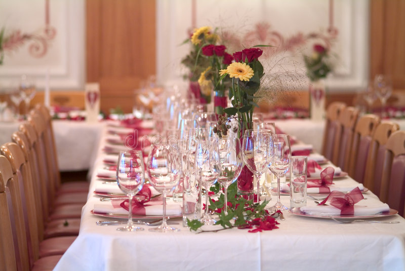 Table decoration. The ceremonial decorated dinner table royalty free stock images
