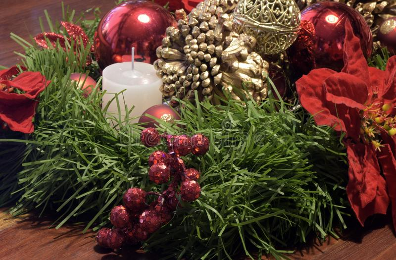 Table decoration with Christmas motif, with highlight for wax ca royalty free stock image