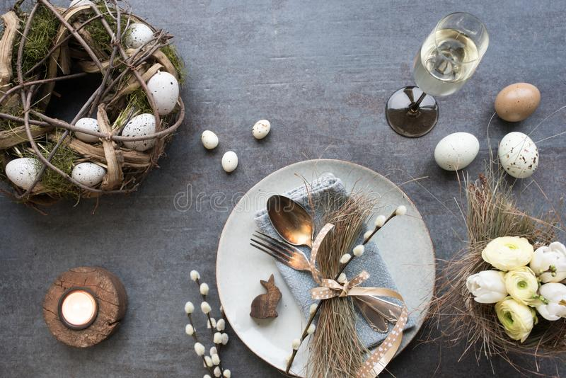 Table decoration for a easter dinner stock images