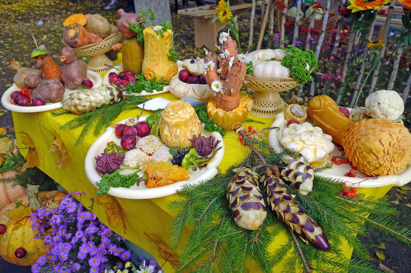 Table Decoration With Fresh Vegetables And Fruits Stock