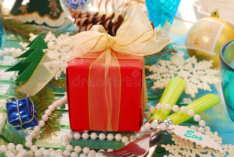 Download Table Decoration With Gift For Christmas Stock Image - Image: 21155267