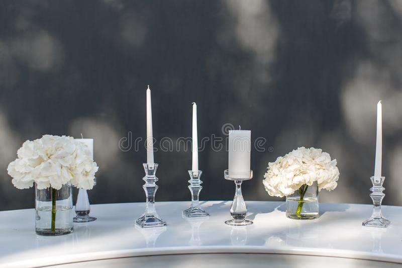 The table decorations on the buffet table stock images