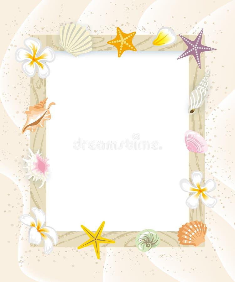 Table des messages d'été, Shell Decoration-EPS10 illustration stock