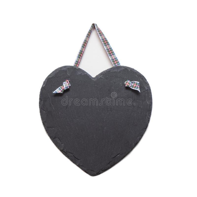 Table des messages de forme de coeur d'ardoise photo stock