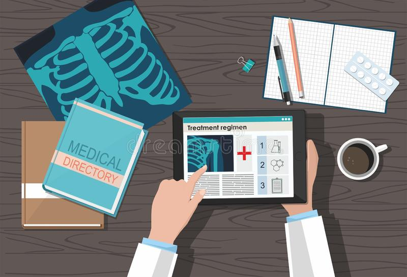 Table doctor. Workplace. Medical equipment on wooden table. view from above. Flat vector illustration