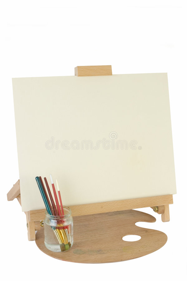 Table easel & canvas royalty free stock photo