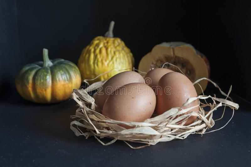Table with eggs in the straw and pumpkins stock image