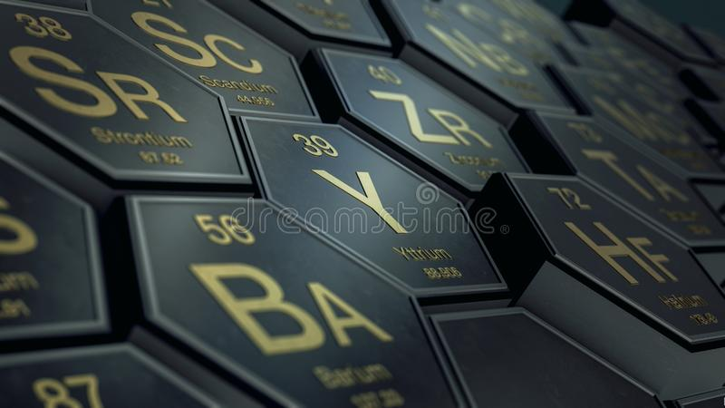 Table of elements. Close up view of a periodic table of elements with hexagons 3d render stock illustration