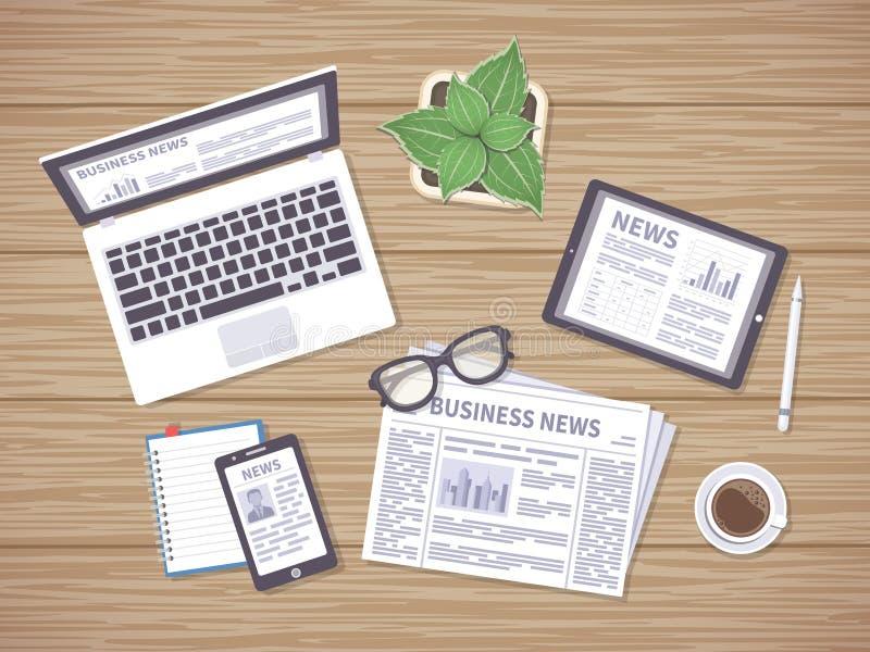 Table en bois avec des actualités quotidiennes au journal, au comprimé, à l'ordinateur portable et au téléphone Beaucoup de maniè illustration stock