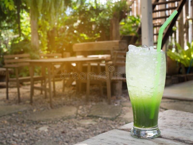 Table en bois avec le boire de fines herbes sur le parc naturel photos stock