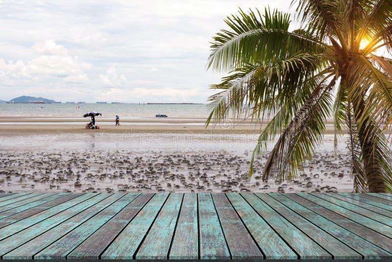 Table en bois avec le fond de tache floue de paysage de plage photos libres de droits