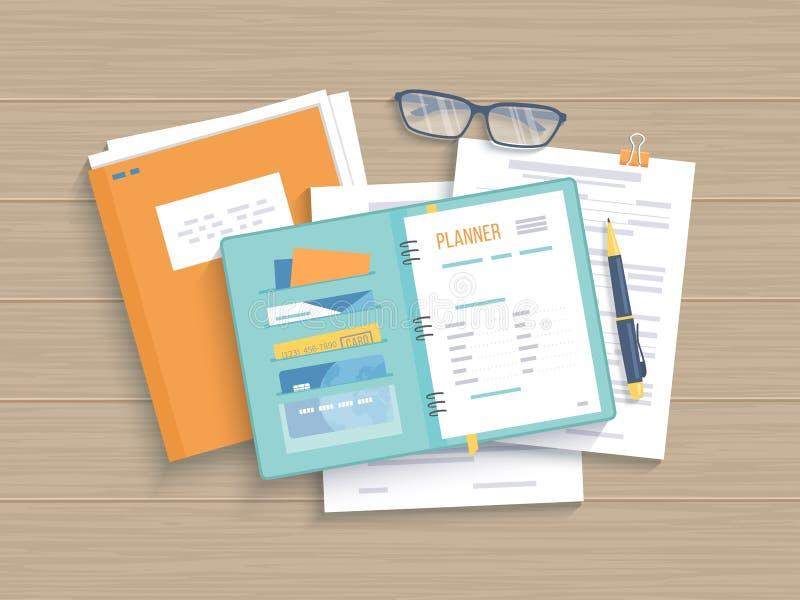 Table en bois d'affaires avec le carnet ouvert, planificateur, documents Travail, analyse, recherche, planification, gestion illustration stock