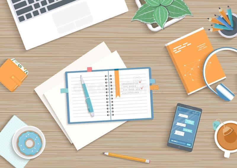 Table en bois d'affaires avec le carnet, papier, livre, écouteurs, téléphone Lieu de travail, notes, éducation, planification de  illustration de vecteur