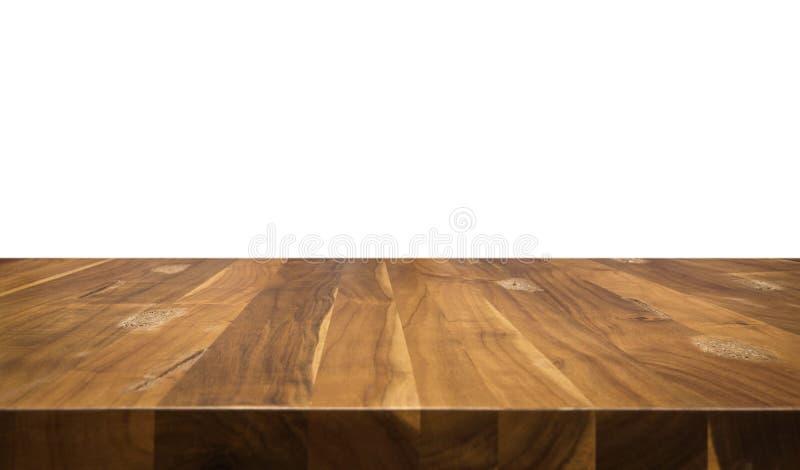Table en bois d'isolement sur le fond blanc photos stock