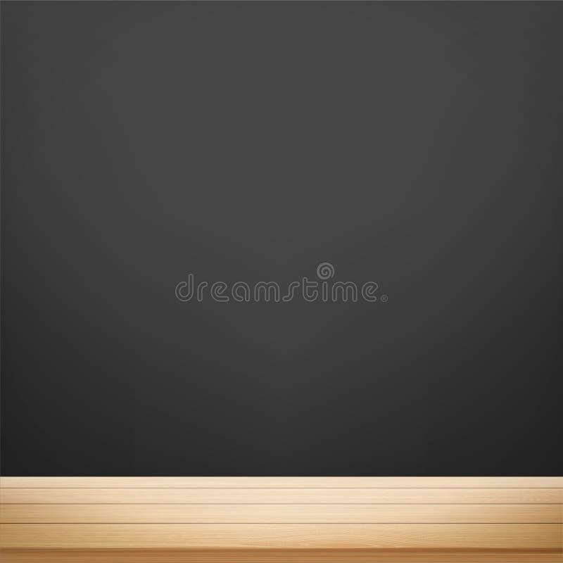 Table en bois dans la perspective d'un mur noir pour la craie illustration libre de droits