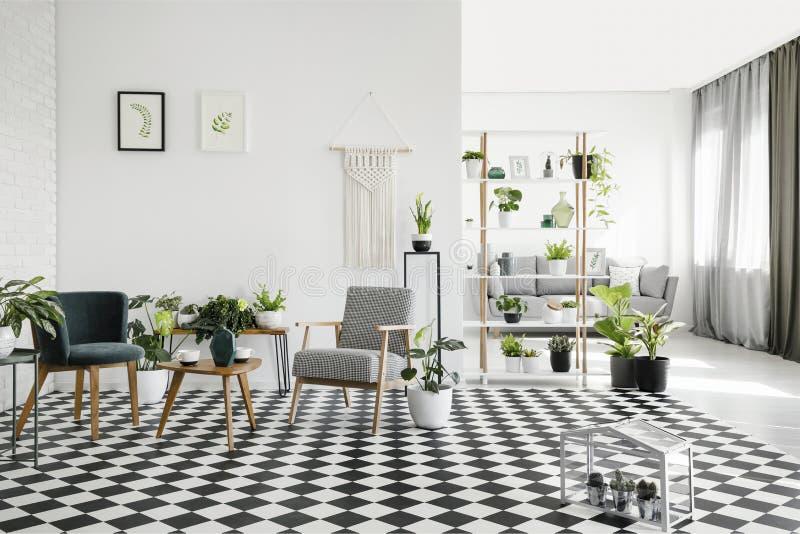Table en bois entre les fauteuils sur le plancher à carreaux dans l'intérieur blanc de salon avec des usines Photo réelle photo libre de droits