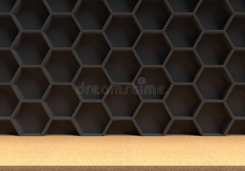 Table en bois et fond noir d'hexagones illustration stock