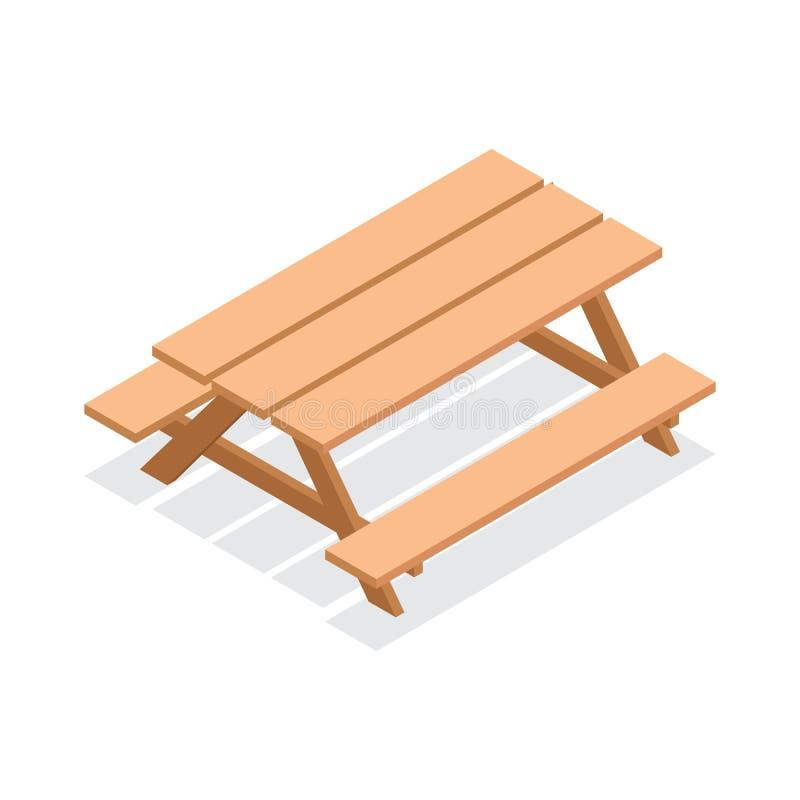 Table en bois isométrique avec des bancs icône extérieure de meubles du vecteur 3d illustration stock