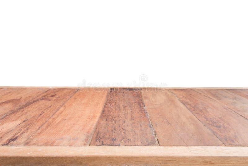 Table en bois supérieure d'isolement sur le fond blanc photographie stock libre de droits