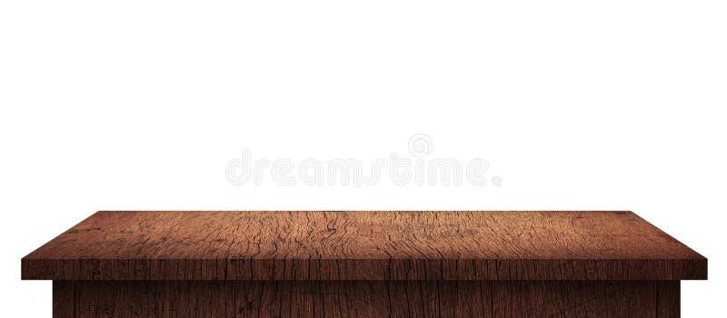 Table en bois vide avec le modèle brun d'isolement sur le fond blanc pur Bureau et panneau d'affichage en bois d'étagère avec le  photo libre de droits