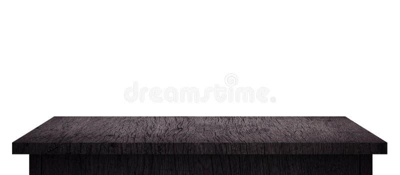 Table en bois vide avec le modèle noir d'isolement sur le fond blanc pur Bureau en bois et panneau d'affichage noir d'étagère ave photographie stock libre de droits