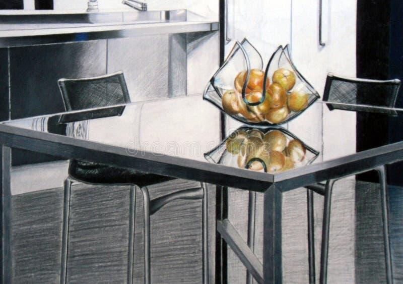 Table en verre dessinant 2 image libre de droits