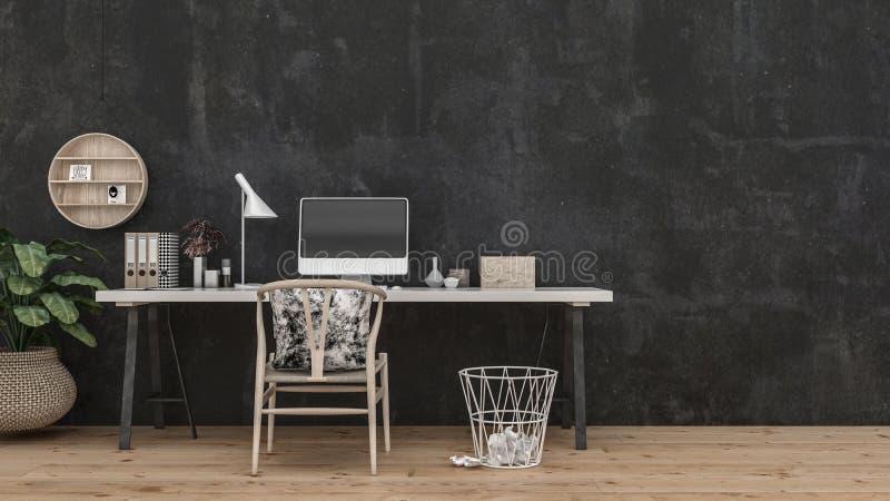 Table et chaise larges devant le mur noir illustration de vecteur