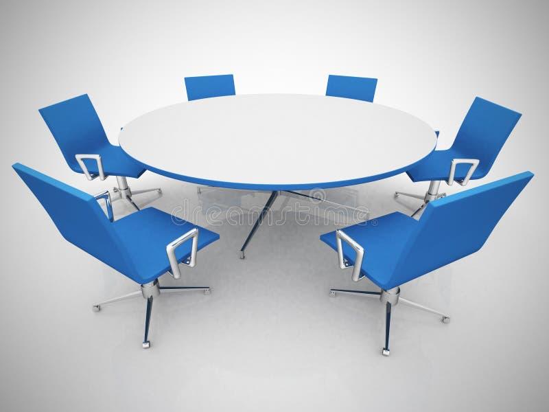 Table et chaises de conférence dans le lieu de réunion illustration libre de droits