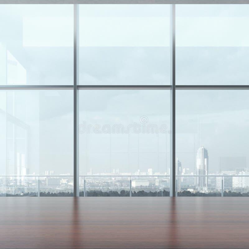 Table et fenêtre de bureau illustration libre de droits