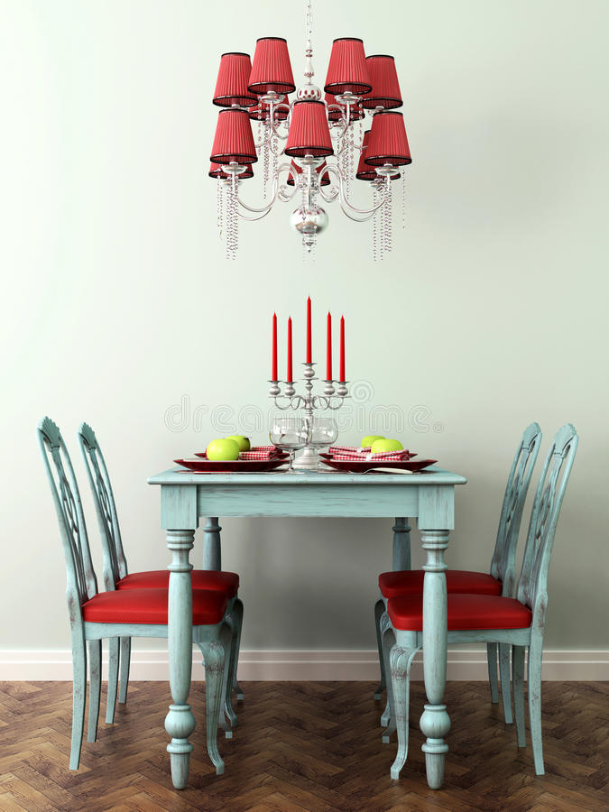 Table et lampe étendues illustration stock