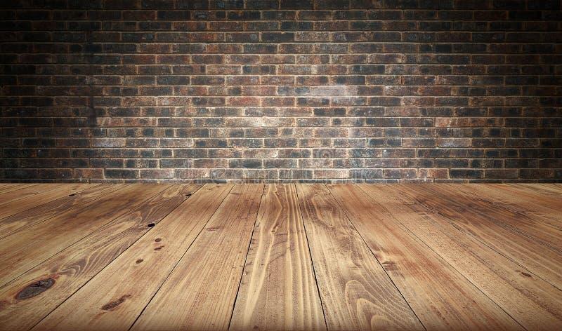 Table et mur de briques en bois vides à l'arrière-plan illustration de vecteur