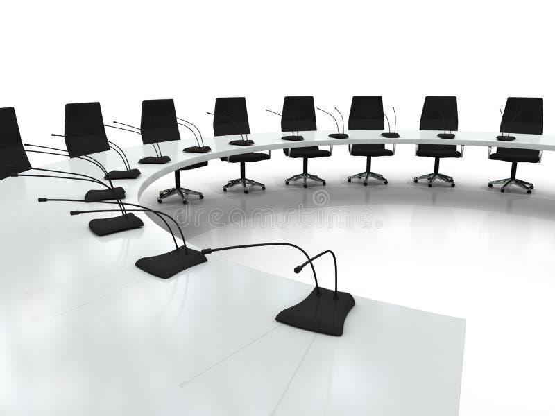 Table et présidences de conférence avec des microphones illustration stock