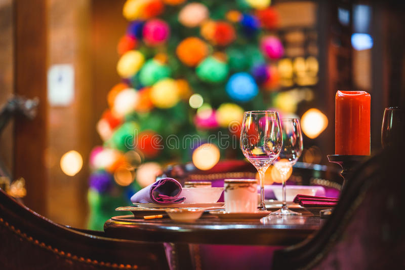 Table for event , towels and wine glasses. Romantic table for event , towels and wine glasses. colorful backgraund royalty free stock photos