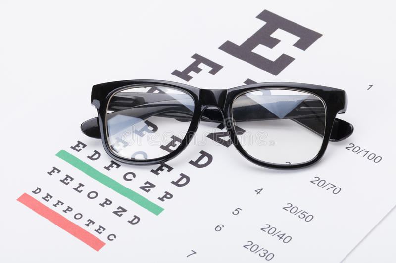 Table For Eyesight Test With Glasses Over It Stock Photo