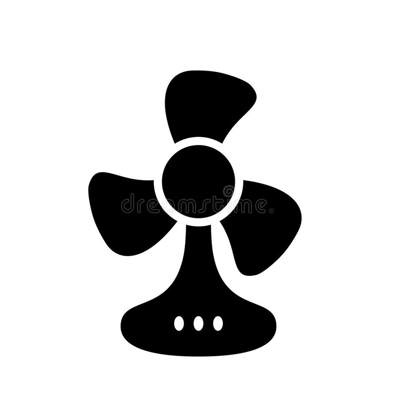 Table fan black monochrome icon stock illustration