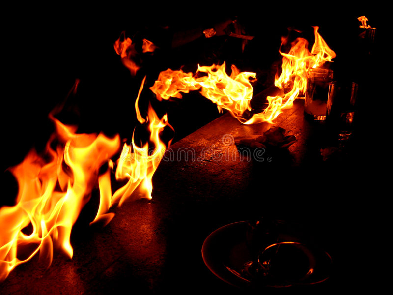Table on Fire stock photography