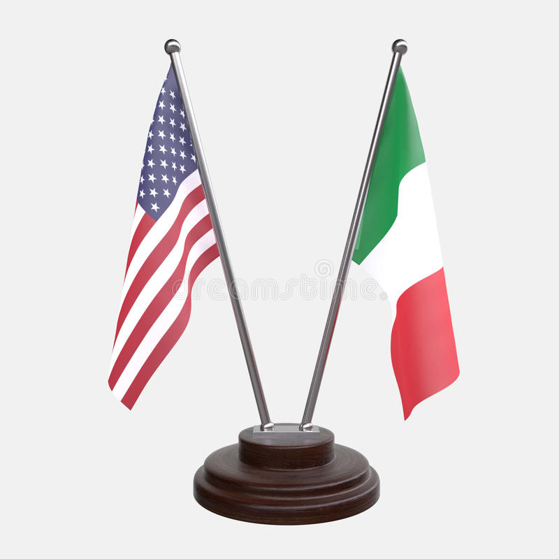 Table flags. Two table flags, USA and Italy, on a wooden stand, isolated on white background. 3d image royalty free illustration